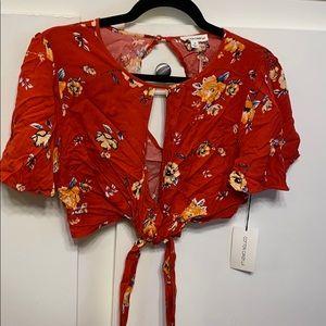 Red Floral Crop Top